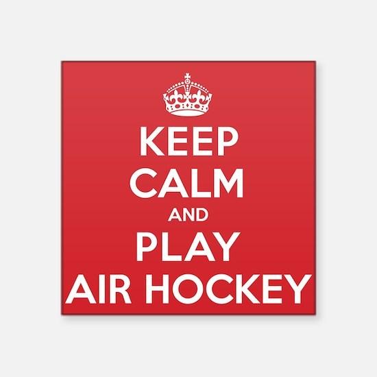 """Keep Calm Play Air Hockey Square Sticker 3"""" x 3"""""""