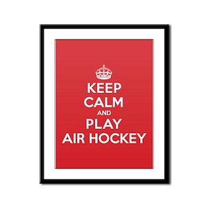 Keep Calm Play Air Hockey Framed Panel Print