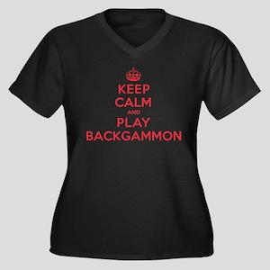 Keep Calm Play Backgammon Women's Plus Size V-Neck