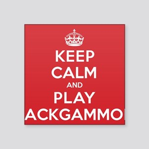 "Keep Calm Play Backgammon Square Sticker 3"" x 3"""