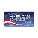 Restore American Sovereignty Aluminum License Plat