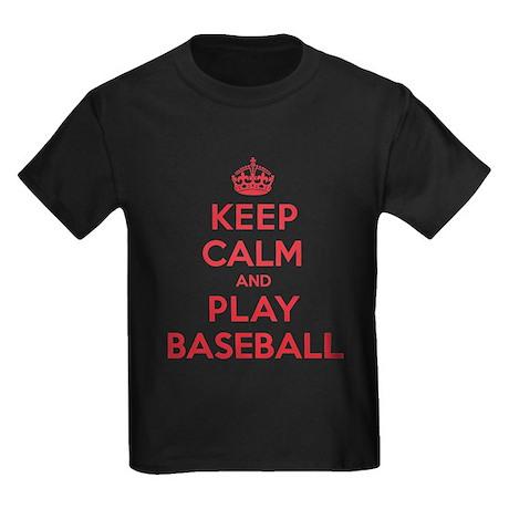 Keep Calm Play Baseball Kids Dark T-Shirt