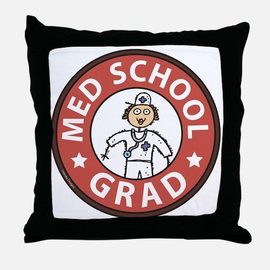Med School Grad (Female) Throw Pillow