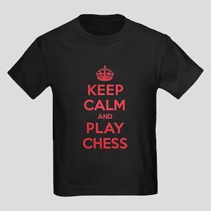 Keep Calm Play Chess Kids Dark T-Shirt