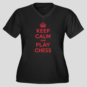 Keep Calm Play Chess Women's Plus Size V-Neck Dark