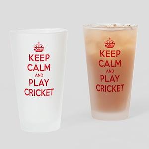 Keep Calm Play Cricket Drinking Glass