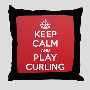 Keep Calm Play Curling Throw Pillow