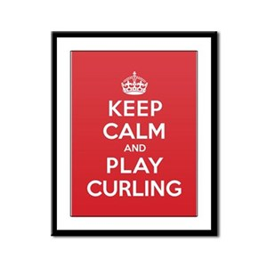 Keep Calm Play Curling Framed Panel Print