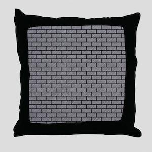 BRICK1 BLACK MARBLE & GRAY COLORED PE Throw Pillow