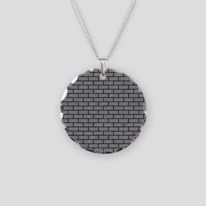 BRICK1 BLACK MARBLE & GRAY C Necklace Circle Charm