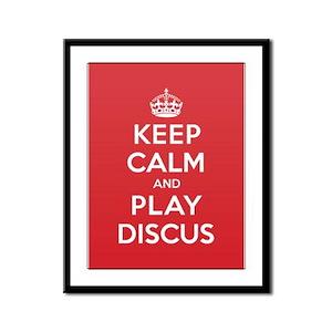 Keep Calm Play Discus Framed Panel Print