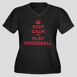 Keep Calm Play Dodgeball Women's Plus Size V-Neck