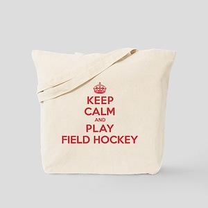 Keep Calm Play Field Hockey Tote Bag