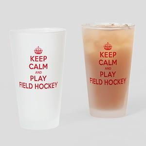 Keep Calm Play Field Hockey Drinking Glass