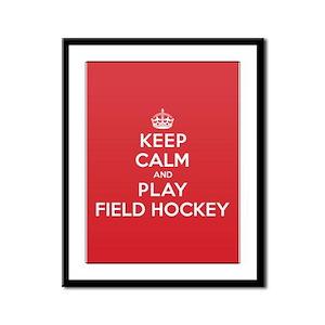 Keep Calm Play Field Hockey Framed Panel Print