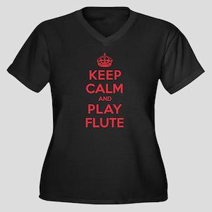 Keep Calm Play Flute Women's Plus Size V-Neck Dark