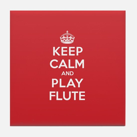 Keep Calm Play Flute Tile Coaster