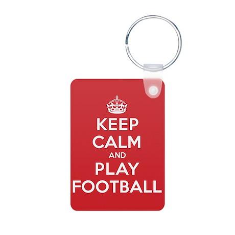 Keep Calm Play Football Aluminum Photo Keychain