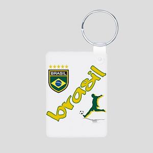 Brasil World Cup Soccer Aluminum Photo Keychain