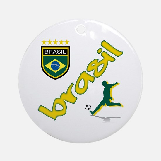 Brasil World Cup Soccer Ornament (Round)