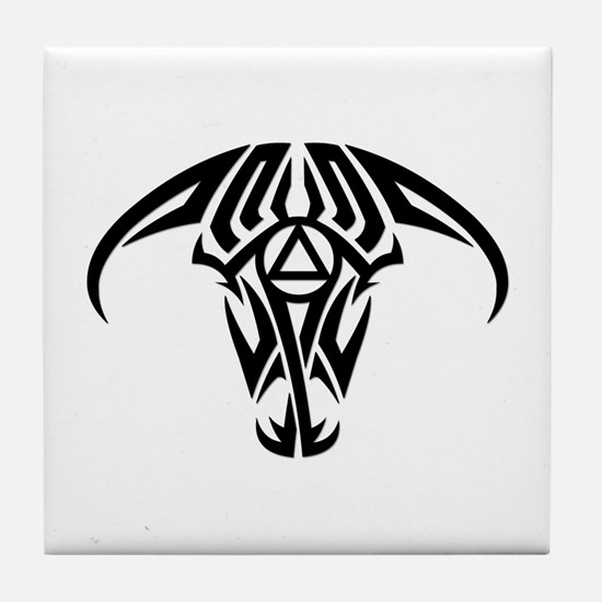 A.A. Logo Taurus B&W - Tile Coaster