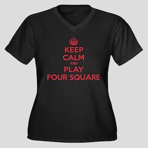 Keep Calm Play Four Square Women's Plus Size V-Nec