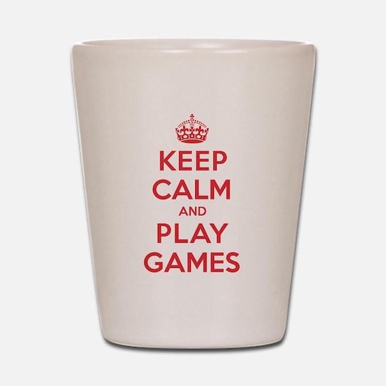 Keep Calm Play Games Shot Glass