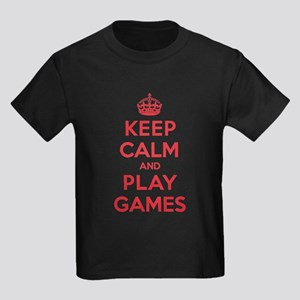 Keep Calm Play Games Kids Dark T-Shirt