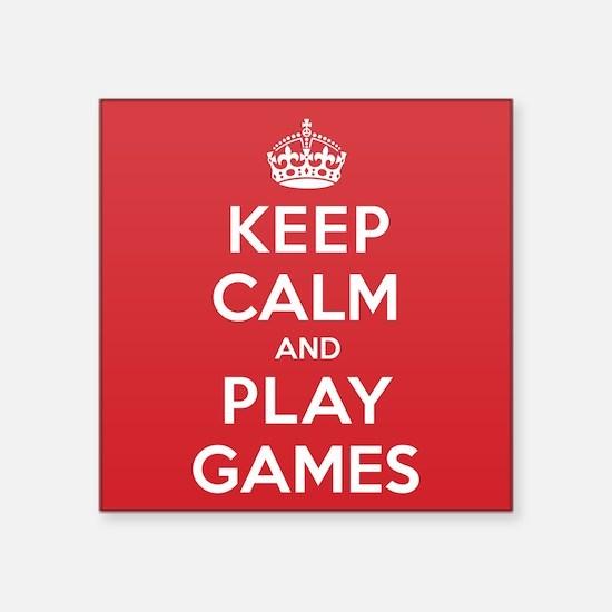 "Keep Calm Play Games Square Sticker 3"" x 3"""
