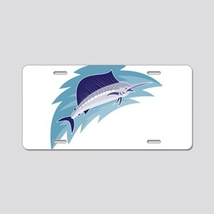 sailfish jumping retro style Aluminum License Plat