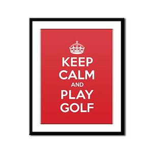 Keep Calm Play Golf Framed Panel Print