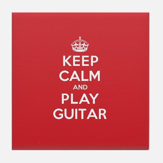 Keep Calm Play Guitar Tile Coaster