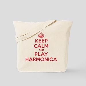 Keep Calm Play Harmonica Tote Bag
