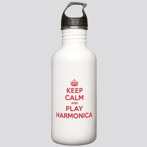 Keep Calm Play Harmonica Stainless Water Bottle 1.