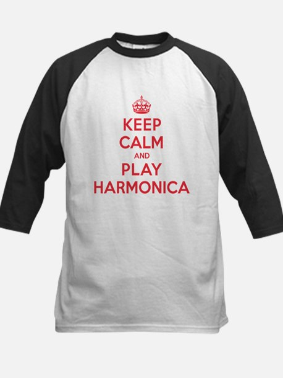 Keep Calm Play Harmonica Kids Baseball Jersey