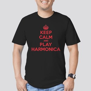 Keep Calm Play Harmonica Men's Fitted T-Shirt (dar