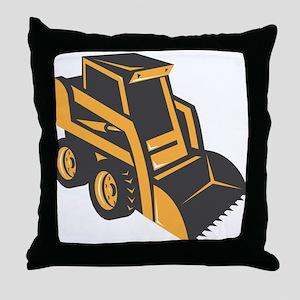 skid steer digger truck Throw Pillow