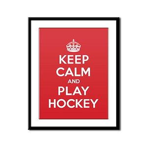 Keep Calm Play Hockey Framed Panel Print