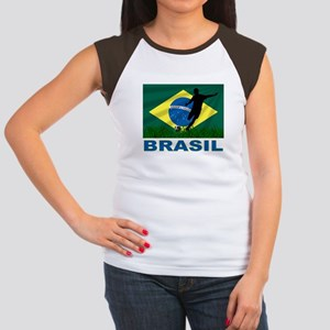 Brasil World Cup Soccer Women's Cap Sleeve T-Shirt