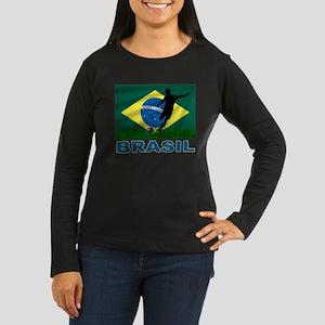 Brasil World Cup Soccer Women's Long Sleeve Dark T