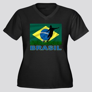 Brasil World Cup Soccer Women's Plus Size V-Neck D