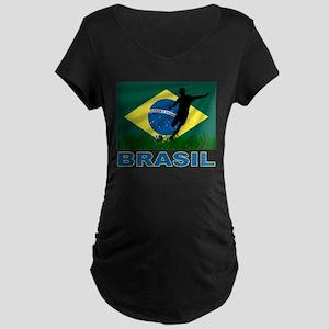 Brasil World Cup Soccer Maternity Dark T-Shirt