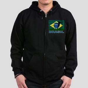 Brasil World Cup Soccer Zip Hoodie (dark)