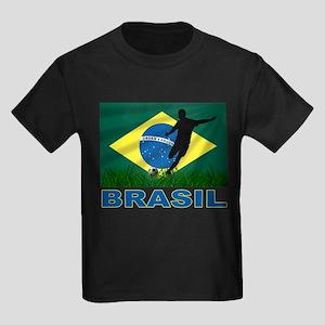 Brasil World Cup Soccer Kids Dark T-Shirt