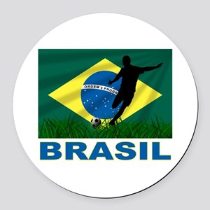 Brasil World Cup Soccer Round Car Magnet