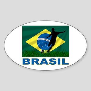 Brasil World Cup Soccer Sticker (Oval)