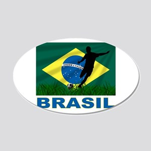 Brasil World Cup Soccer 20x12 Oval Wall Decal