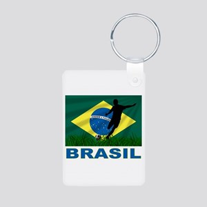 Brasil World Cup Soccer Aluminum Photo Keychain