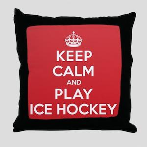 Keep Calm Play Ice Hockey Throw Pillow