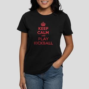 Keep Calm Play Kickball Women's Dark T-Shirt